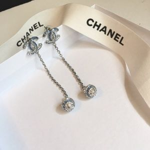 Chanel Silver/Blue Earrings